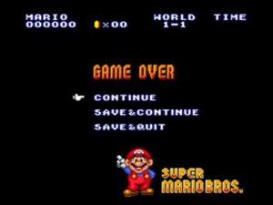 Super Mario Bros. Game Over Screen